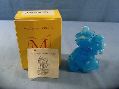 Gabby Mosser Clown Collectible Figurine With Box - Blue & White Slag Glass