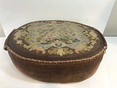 Antique Victorian Footstool Rest - Handmade With Tapestry Top