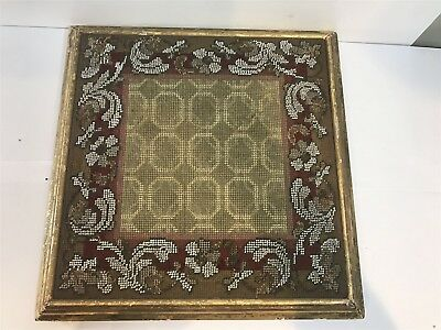 Antique Victorian Teapot Stand Rest Stool - Tapestry Top Dated 1860