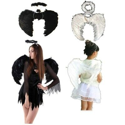 Halloween Party Feather Angel Wings Costume+ Wand Halo Adult Kids Cosplay Dress