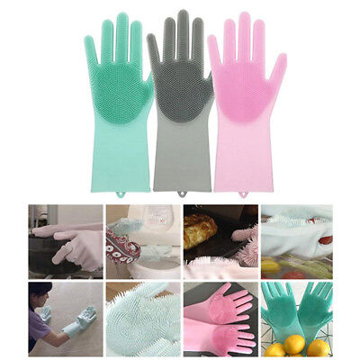 1pcs Magic SakSak Silicone Cleaning Brush Scrubber Gloves Heat Resistant Right