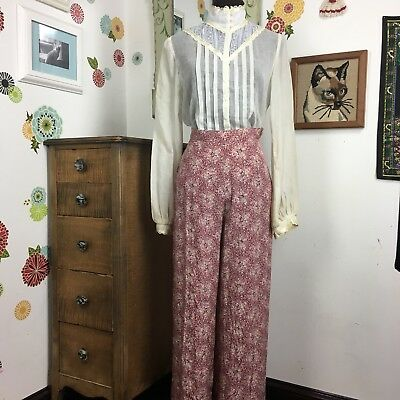Vtg Laura Ashley Floral Palazzo Pants Hi Waist Red Pink Calico Wide Leg US Sz 10