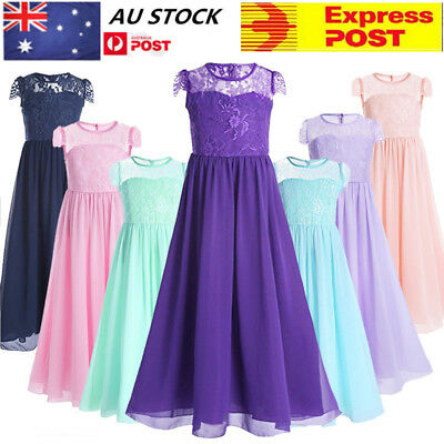 AU Flower Girl Dress Lace Bridesmaid Wedding Formal Graduation Kids Gown Dresses