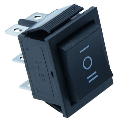 5Pc Latching 3 Position On/Off/On Large Black Rectangle Rocker Switch 6-Pin 12V