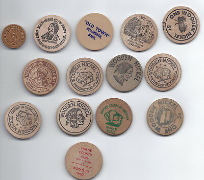 Wooden nickel lot 14 large and 1 small various locations