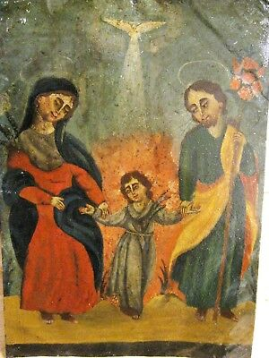 Original Antique Retablo On Tin With Image Of The Holy Family