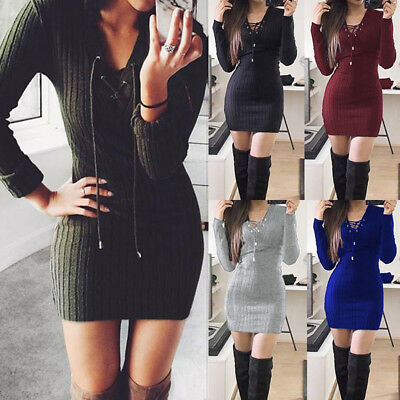 Womens Ladies Lace Up Knitted Bodycon Jumper Dress Winter Bodycon Party Dress US
