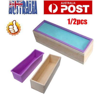 2X Wood Loaf Soap Mould with Silicone Mold Cake Making Wooden Box 1.2kg soap AU