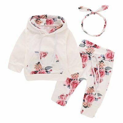 Newborn Toddler Baby Girl Winter Floral Clothes Hoodie Tops+Pants Headband Set