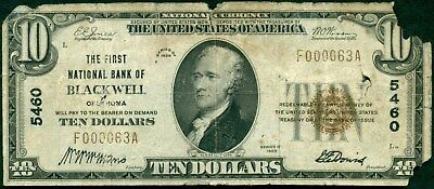 1929 $10 National Bank of Blackwell, OK, Type I, Series 5460, Low Serial# Note