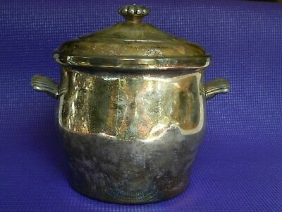 ice bucket wm rogers silver and glass lined 1940's