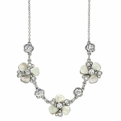 Rhodium Plated 3 Station Patina Crystal And Mother Of Pearl Flower Necklace