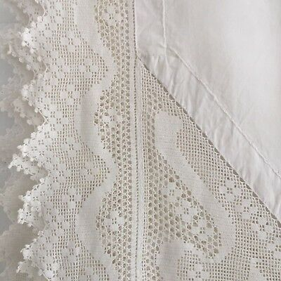 ANTIQUE White Linen Cotton Table CLOTH Detailed Lace Embroidered Edging