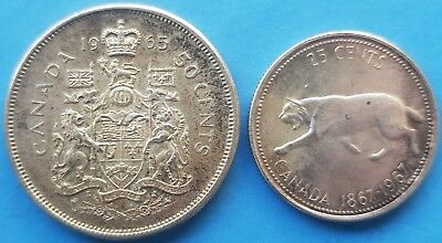 1965 50 cent Canadian Silver and 1967 25 cent CanadianSilver coin