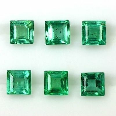 0.88 Cts Natural Best Green Emerald Loose Gems Square Cut 3 Set Pair Zambia 3mm