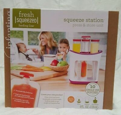 Infantino Fresh Squeezed Squeeze Station Baby Food Maker and spoons
