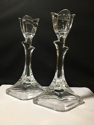 """Pair of 8"""" Crystal Clear Glass Tulip Flower Taper Candle Holders"""