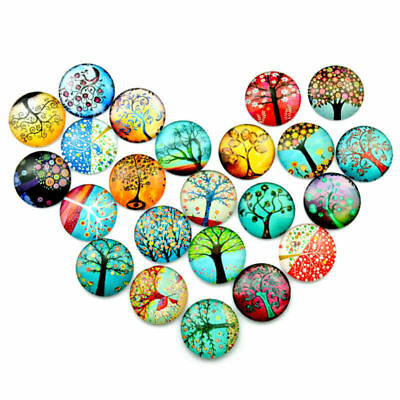 10x Decorative Round Glass Pebbles Stone Stick Jewelry Making Handcrafted Tile