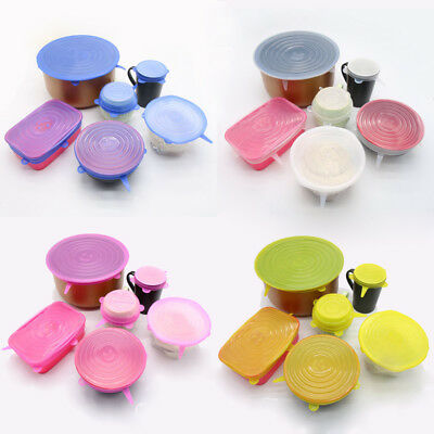 6Pcs Silicone Reusable Food Fresh Keeping Sealing Stretch Lid Container Cover