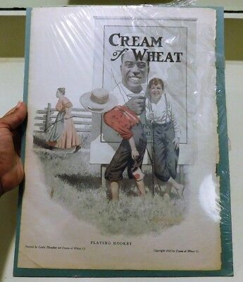 Cream Of Wheat ~Playing Hookey~  Antique 1913 Lithograph Ad By Leslie Thrasher