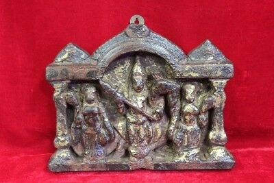 1900's Old Vintage Indian Rare Wooden Kartikeya Wall Panel Home Decor PR-11