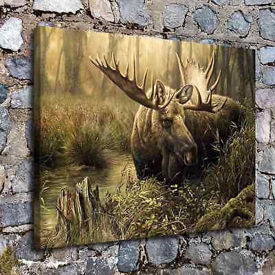 "Moose 24""x32"" HD Canvas prints Painting Home Decor Picture Wall art Poster"
