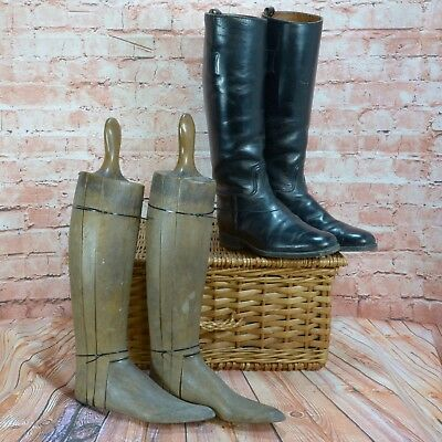 Vintage Heavy Oak Wood Boot Trees with Free Leather Vintage Riding Boots 10.5