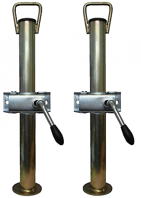 A pair of silver trailer prop stands corner steadys with handle 34mm diameter x