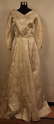 SMALL, WHITE BROCADE, 1950's WEDDING DRESS. ORIGINAL VINTAGE.