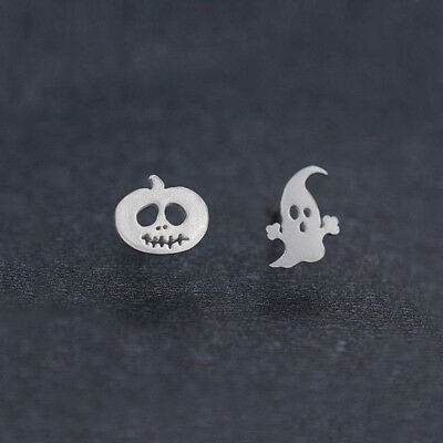925 Silver Plated Women Kids Ghost Pumpkin Halloween Post Xmas Stud Earrings