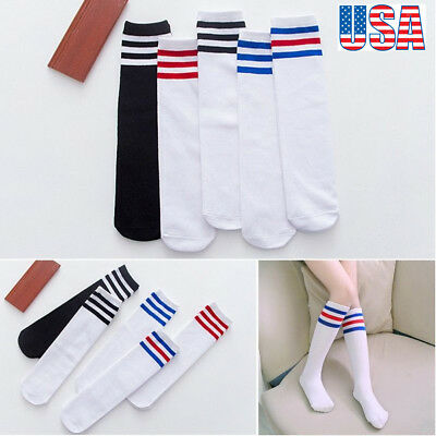Soft Baby Kids Knee High Warm Socks Boy Girl Toddler Rainbow Striped Tube Socks