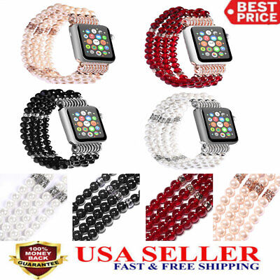 38/42mm Bling Pearl Beads Strap Bracelet Wrist Band For Apple Watch Series 3/2/1