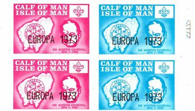 A Block  Of 4 Stamps From The Isle Of Man,calf Of Man 1973.