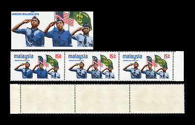 Malaysia 1974 Scouts 15c strip, 1st unit showing striking blue colour smudged.