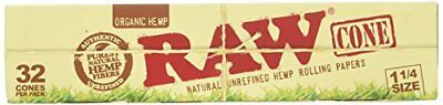 RAW Organic Unrefined Pre-Rolled Cone 32 Pack 1 1/4 Size