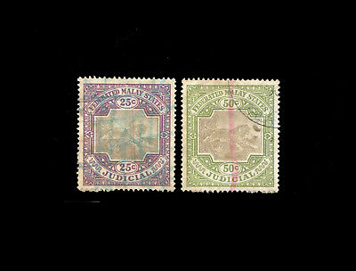 Malaya - Federated Malay States Leaping Tiger 25c & 50c Judicial stamps, used.
