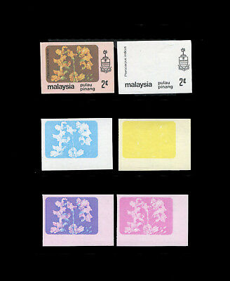 Malaya/Malaysia Penang 1979 Flowers 2c progressive proofs, complete 6 stages.