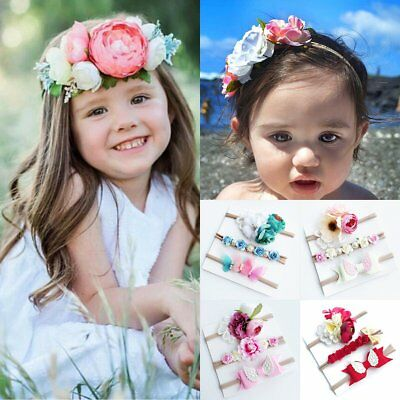 3pcs Newborn Headband Ribbon Elastic Baby Headdress Kids Hair Band Girl Bow New