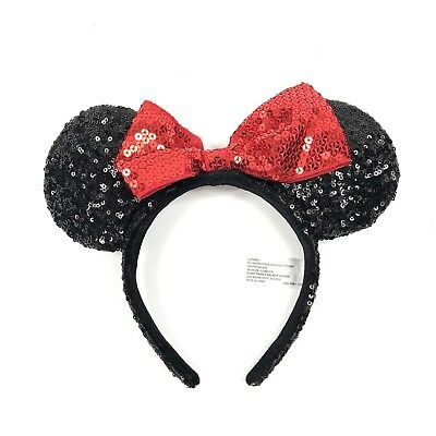 Disney Parks Minnie Mouse Sequin Bow Ears Hat Headband, Black Red Size OS