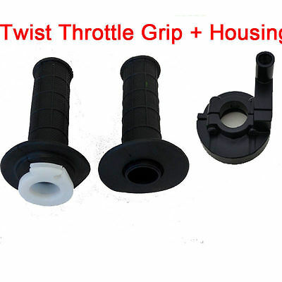 "Motorcycle 22mm 7/8"" Twist Throttle Handlebar Grip + Housing Tubes Set Dirt Bike"