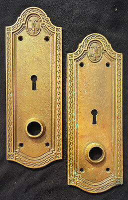 RARE! 1915 Antique Vintage SOLID Cast Bronze Door Knob Doorknob Escutcheon Plate