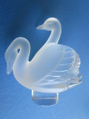 Lalique Frosted Crystal Double Swan On Clear Base  Paperweight - Signed