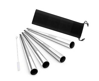 6pcs set Reusable Metal Stainless Steel Extra Wide Smoothie Drinking Straws