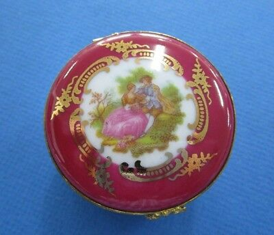 Limoges Hindged Round  Ceramic Courting Couple Trinket Box