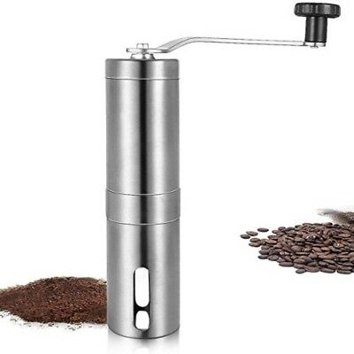 JSHUS Portable Manual Coffee Grinder, Conical Burr Mill, Brushed Stainless Steel