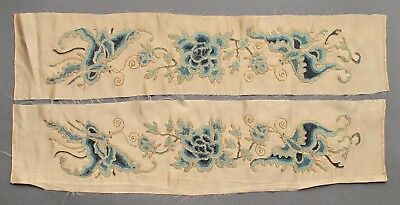 A pair of good Chinese sleeve bands with peony and butterfly design late C19th