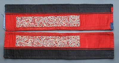 A pair of finely-embroidered Chinese sleeve bands cut from a robe, late C19th
