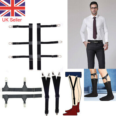 T Shirt Suspenders Stays Sock Garters Elastic Holders Non-slip Locking Clamps UK