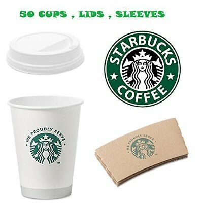 Starbucks White Disposable Hot Paper Cup 12 Ounce Sleeves and Lids Pack of 50...