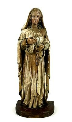 Virgin Of Mercy. Polychrome Wooden Sculpture. Europe. 18Th-19Th Century.